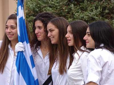 beautiful Cretan girls during oxi day in Hersonissos