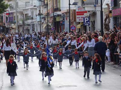 at oxi day all the school classes attend in the parade