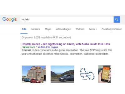 trefwoorden zorgen ervoor dat Routaki gevonden wordt binnen google