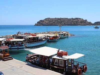 the boat trip to spinalonga is the one from Plaka village