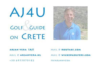 the front side of the new business card AJ4U Golf and Guide