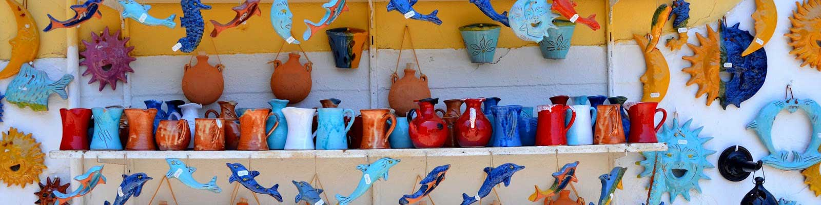 in the whole of Margarites you will see colourfull ceramics