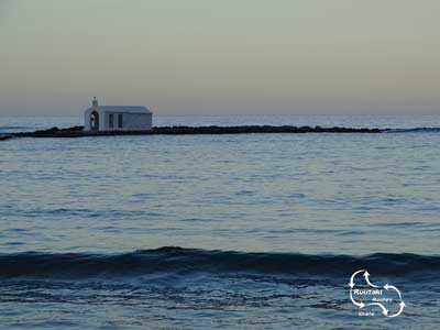 the chapel of Agios Nikolaos in the cretan waters
