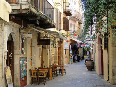 de kleine straatjes van de stad Rethymon