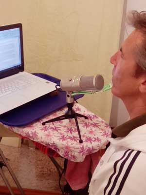 the recording in the home studio with the use of a professional microphone