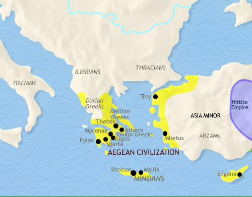 other regions where minoan founds were made.