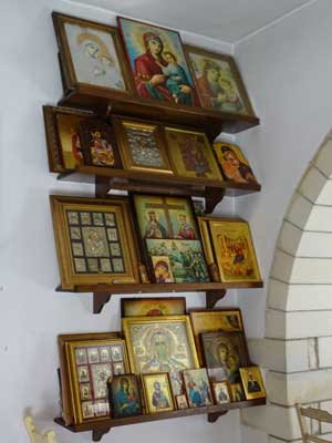 in the shop of the monastery of Myriokefala you can buy many icons