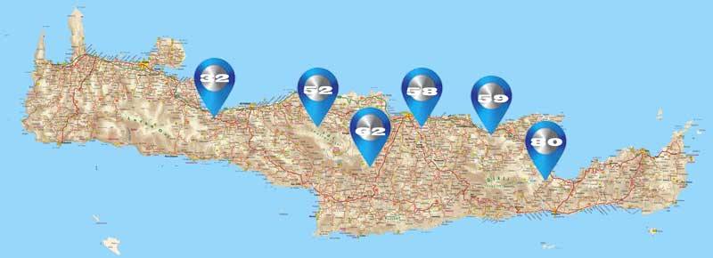 the numbers of the route descriptions indicate the position on Crete