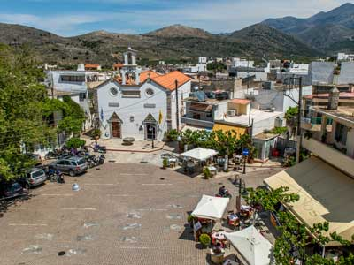 village square and church of Mochos, south of Malia