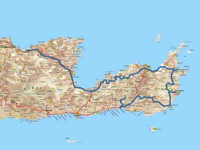 the route described in this blog post in the east side of Crete