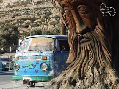 matala carved olive tree during the hippie festival