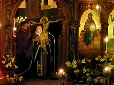 image inside the church on Crete on holy Thursday
