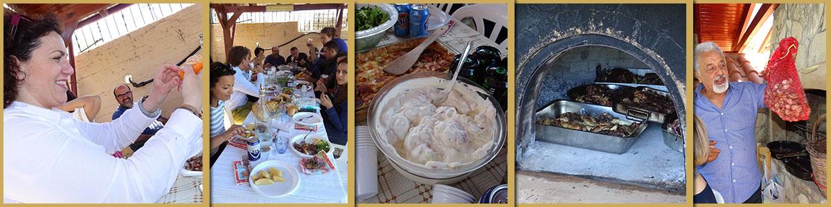met familie en vrienden Grieks Pasen vieren en gezellig eten samen.