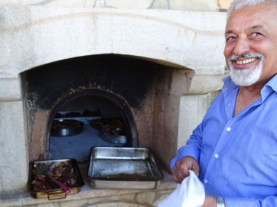 traditional lamb out of the oven - end of the holy week on Crete