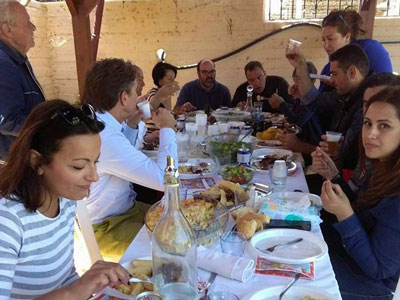 eating with friends and family on easter sunday morning