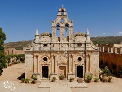 het mooie klooster van Arkadi, waar een belangrijke gebeurtenis plaats vond in 1866