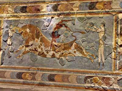 één van de belangrijkste fresco's van het archeologisch museum in heraklion