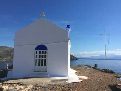 schitterende foto van het kerkje op Dia eiland