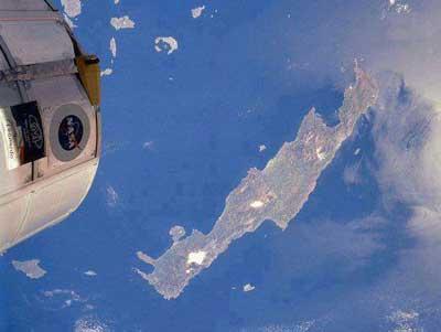 Kreta gezien vanuit de ruimte.