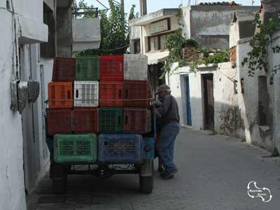 een wijnboer aan het werk in zijn dorp